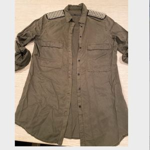 Military Button down Shirt Spike embellished